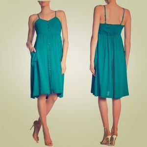 Good Luck Gem teal button down midi dress